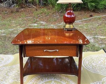 MCM Side Table with Floating Drawer  Sleek Elegant Design
