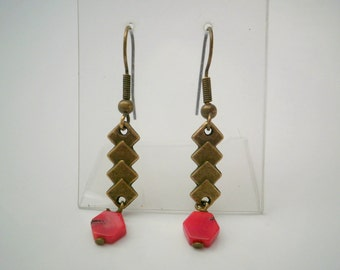 Red Coral Brass Earrings