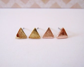 Solid Triangle Stud Earring, 18K Gold or Rose Gold, brushed finish,  for helix, conch, cartilage piercing, upper/lower ear lobes