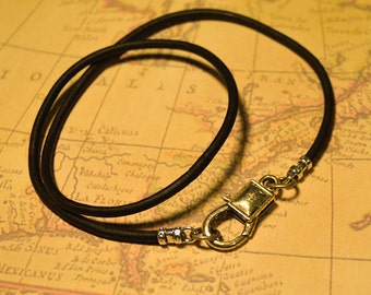 Leather Surfer Necklace 3mm Thick Choker Pewter Clasp