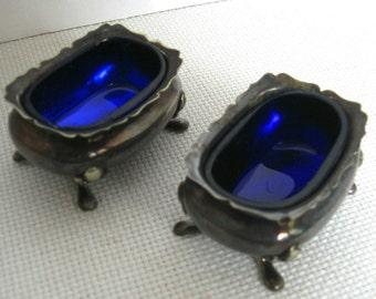 Set of Two (2) Vintage Silver Cobalt Footed Salt Cellars - Made in England
