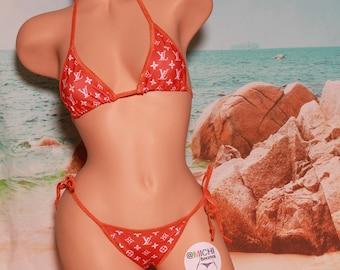 Designer Inspired Bright Orange w White Monogram Orange Trim Medium Coverage Top Scrunch Butt 2 Piece Micro String Bikini Set One Size