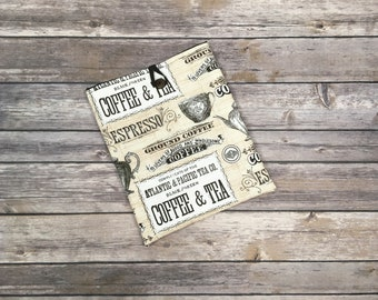 Coffee & Tea Book Sleeve! Padded Fabric Book and Tablet Cover. Choose from 3 Sizes!