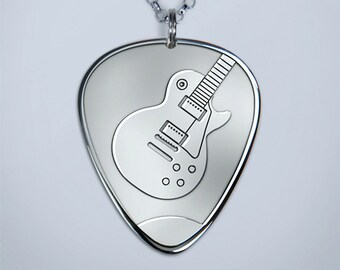 Solid Silver Plectrum Guitar Pick Necklace with Les Paul design