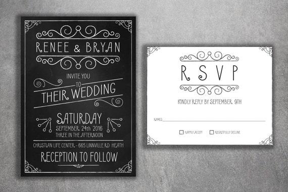 Chalkboard Wedding Invitations Set Printed Vintage Wedding