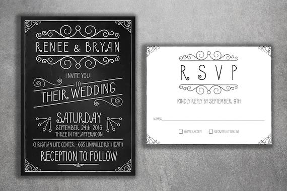 Affordable chalkboard wedding invitations set cheap wedding filmwisefo