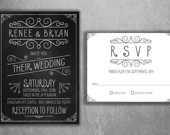 Affordable Chalkboard Wedding Invitations Set, Cheap Wedding Invitations, Rustic Wedding Invitation, Vintage, Black and White, Country, RSVP