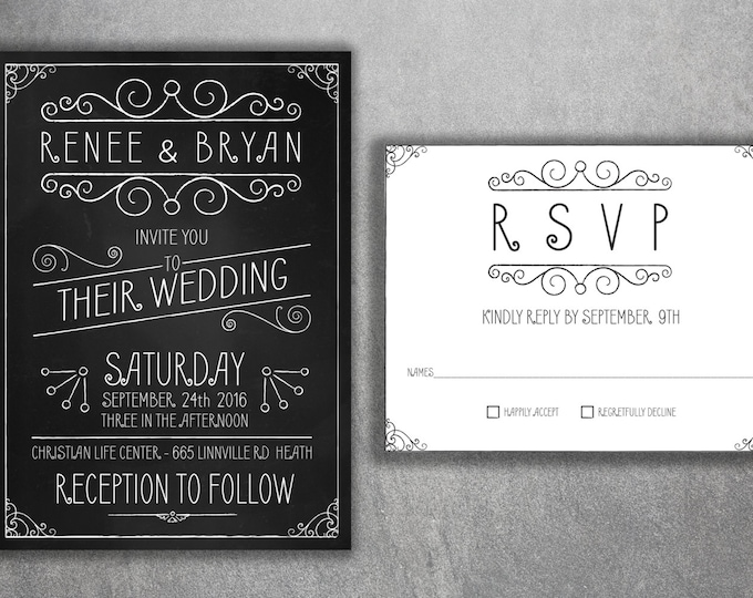 Affordable Wedding Invitations Set Printed, Cheap Chalkboard Wedding Invitations, Affordable, Black and White, Rustic, Vintage, Country