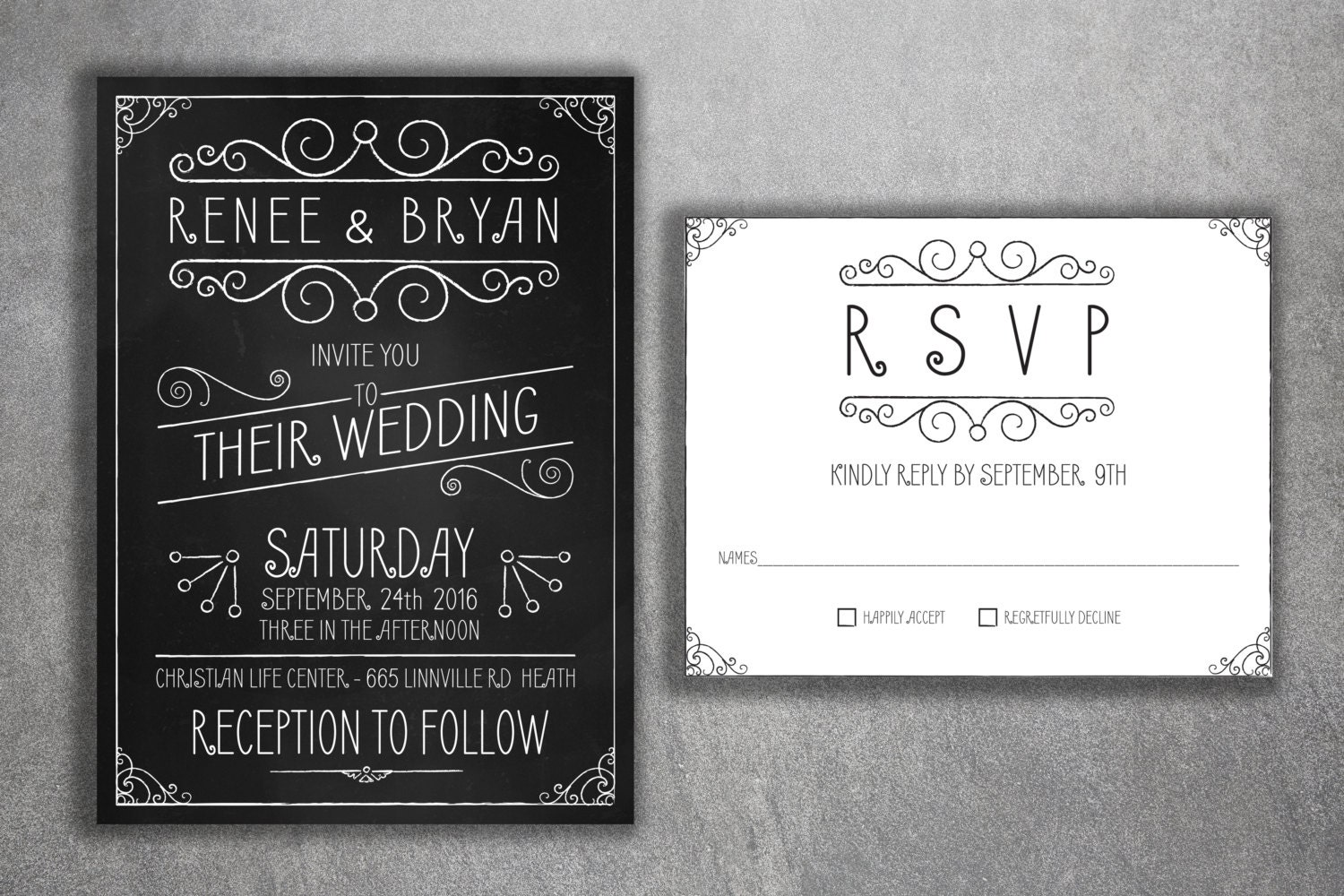 Affordable Wedding Invites: Affordable Wedding Invitations Set Printed Cheap Chalkboard