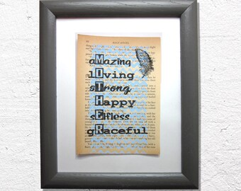 Mother print on a book page, amazing, loving, strong, happy, selfless, graceful, mom