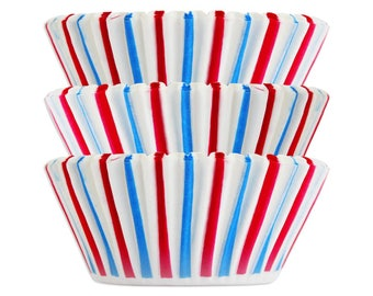 Red and Blue Stripe Baking Cups - fun red and blue striped cupcake liners, patriotic cupcake liners, circus baking cups.