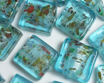 10pcs Blue Square Beads - Lampwork Beads - Speckled Beads - Boho Beads - Handmade Beads - Artisan Beads - X006-7