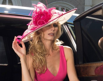 2018 collection. Kentucky Derby Hat. Derby hat. Pink hat. Ivory hat. Couture hat. Designer hat. Royal Ascot. Wedding. Del mar races