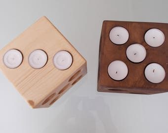 Dice tea light candle holder,wooden candle holder,wooden holder,customize candle holder,meditation candle holder,reiki candle holder