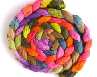 Spring Forth, Merino/ Superwash Merino/ Silk Roving - Handpainted Spinning or Felting Fiber
