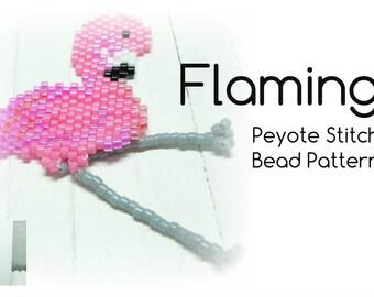 Pink Flamingo Bead Pattern, Peyote / Brick  Stitch Beading,  DIY Jewelry Craft : Charm, Earrings, Pendants