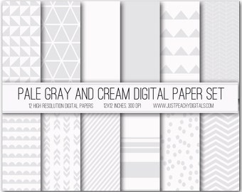 gray and cream modern digital scrapbook paper with geometric patterns