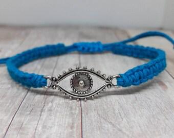 Evil Eye Bracelet - Evil Eye Jewelry - Hemp Jewelry - Hemp Bracelet - Bohemian Jewelry - Bohemian Bracelet - Spiritual Jewelry