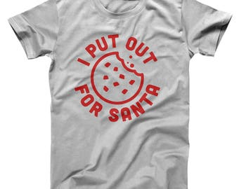 I Put Out For Santa Funny Cute Christmas Party Girls Basic Men's T-Shirt DT1659