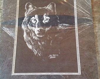 Vintage Sue Chaffee Wolf Art