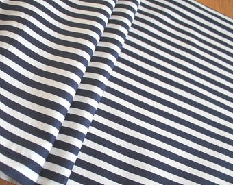 Navy and white striped cotton table runner weddings,events home decor