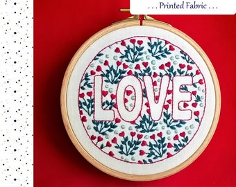 Embroidery Fabric Pattern, Pre Printed Fabric for Hand Embroidery, LOVE , DIY embroidery Kit, DIY Hoop Art Pattern. valentine design