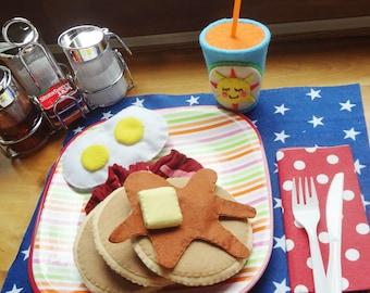 Felt Play Food Pancake Breakfast with Bacon & Eggs, and orange juice