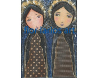 Two Angels - Folk Art  Print from Mixed Media Collage Painting (5 x 7  inches PRINT) by FLOR LARIOS