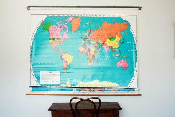 Vintage usa map world map hanging map pull down map united like this item gumiabroncs Images