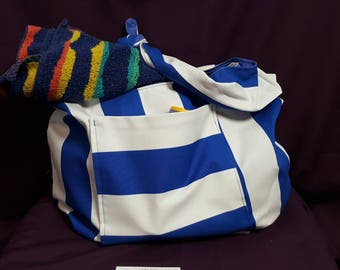 Beach Bag all blue and white cotton fully lined bag with magnetic clasp closure and front pocket over the shoulder and internal pocket
