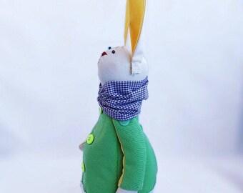 Bunny Rabbit Tilda Toy  Soft toy Fabric doll Interior toy Big-eared bunny Doll Handmade Gift Interior doll Blue rabbit Tilda bunny Decor