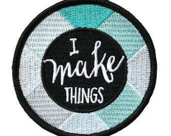 I make things - Iron on embroidered patch Mint