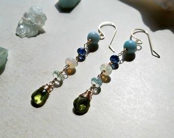 Larimar Opal Dangle Earrings, Wire Wrapped Blue Green Gemstones, Long Aquamarine Fringe Earrings