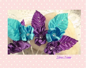 Fabric Flower, Rhinestone Flower with Leaf, Purple Fabric Flower, Blue Fabric Flower,