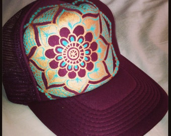 Maroon trucker with goldy/turqoise hand painted mandala