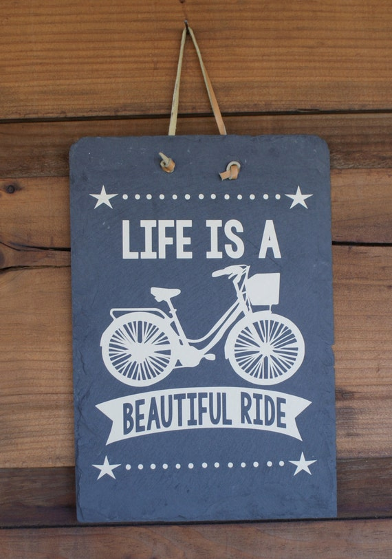 Bicycling Sign - Cyclist Gift - Bicycle Hanging Sign - Gift for Cyclist - Life is Beautiful - Mountain Bike Lover - Life Is - Gift Exchange