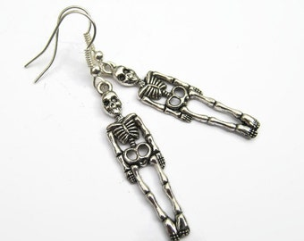 Skeleton Earrings, Skull Earrings, Skeleton Bones Jewelry, Halloween Earrings, Body Anatomy Earrings, READY To SHIP, Antiqued Silver
