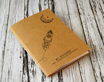 Notebook - Quirky, Geeky and Cute. Space Theme with Rocket Illustration. Mini journal