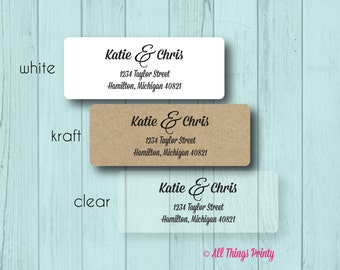 Couple Custom Return Address Labels - Personalized Ampersand Wedding and Marriage Stickers - Matte White, Kraft, or Clear Gloss