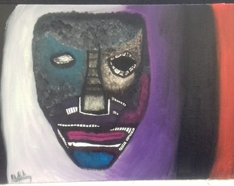 Face/Mask Abstract Oil Painting - The Monster Within