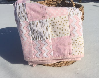 Pink and gold Girl Toddler Quilt