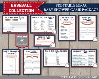 INSTANT DOWNLOAD Baseball Mega Baby Shower Game Package / 9 Items / Printable / Baseball Collection / Item #905