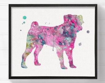 Pink Pug, Watercolor Pug Painting, Pug Art Print, Pug Poster, Dog Wall Art, Dog Art Print, Dog Poster, Kids Room Decor, Dog Girls Room Decor
