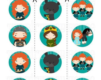 INSTANT DOWNLOAD - PRINTABLE Brave Friends Party Rounds - Assorted Merida & Friends Cupcake Toppers by The Birthday House