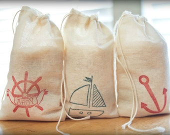 Nautical Set muslin cotton favor bag 15 with stamp gift sack birthday party wedding beach theme