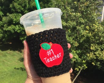 Teacher gifts - Teacher appreciation - Teacher apple - Crochet coffee cozy - Coffee cup cozy - Crochet cup cozy - Coffee cozy - Cup sleeve
