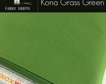Kona cotton solid quilt fabric, Kona GRASS GREEN 1703, Kona fabric, Solid fabric Yardage, Kaufman, Green fabric, Choose the cut