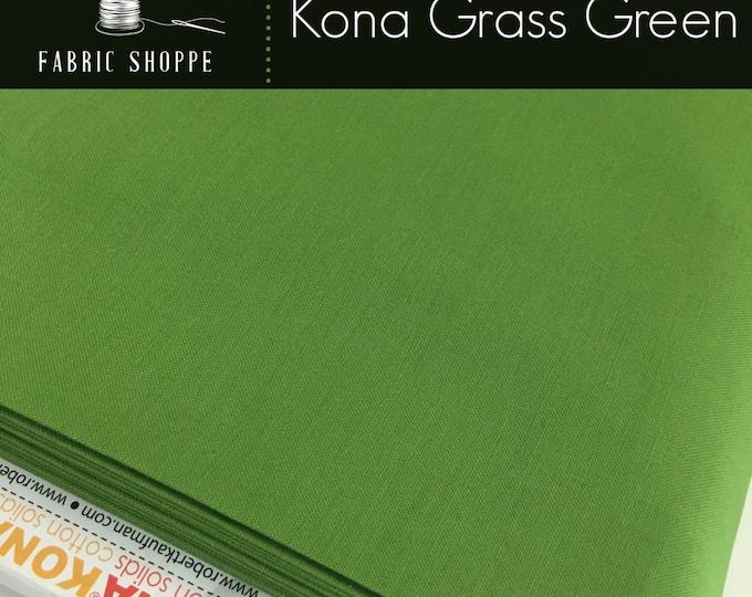 Kona cotton solid quilt fabric, Kona GRASS GREEN 1703, Kona fabric, Solid fabric Yardage, Kaufman, Green fabric, Choose the cut