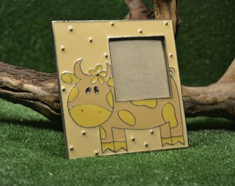 Yellow floral photo frame - Used - Office decor - Square table frame - Cow image - Metal photo frame