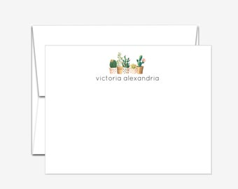 Personalized Stationery - Succulents - Flat Note Cards
